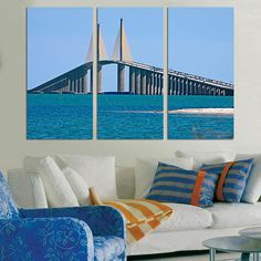 #BobGraham #Sunshine #Skyway #Bridge #Florida #WallArt #Prints #Home #Décor #Wall #Art #Kids #Room #bedroom #3panel