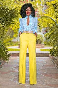 Style Pantry   Ruffled Silk Button Down + High Waist Wide Legs