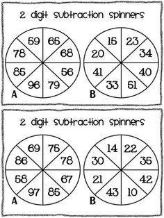 2 digit subtraction game - without regrouping - FREE