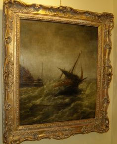 19th Century Seascape. Oil on Canvas, Signed