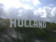 Hollywood Holland sign in the Dutch dunes!