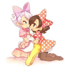 Humanised Disney in Anime Style - Daisy Duck and Minnie Mouse Disney And More, Disney Love, Disney Mickey, Disney Images, Disney Pictures, Mickey Mouse And Friends, Minnie Mouse, Stylo Art, Pixar