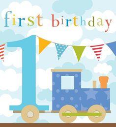 Happy 1st Birthday Card Think of me - kiddiwinks - happy 1st birthday card - blue