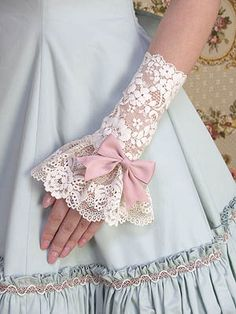 Mary Magdalene Fingerless Glove and Cuff Lace with Bow