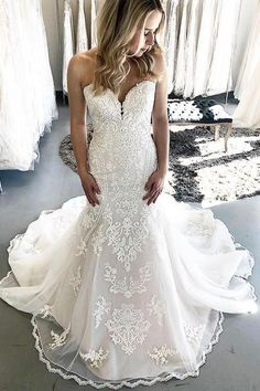 Mermaid wedding dress in ivory color with boutique cathedral train,featuring with gorgeous appliques in dress. How To Dress For A Wedding, Wedding Dress Train, Classic Wedding Dress, Weeding Dress, Western Wedding Dresses, Dream Wedding Dresses, Bridal Dresses, Wedding Gowns, Lace Wedding