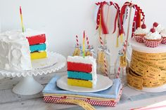 This is a cute idea too! Cute 1 small piece out of a whole big cake for baby smash cake. That way you're saving money because you're not buying 2 cakes. Neat!