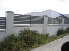 4 Simple and Ridiculous Tips and Tricks: Modern Fence With Brick fence lighting porches. Patio Fence, Brick Fence, Front Yard Fence, Fence Landscaping, Metal Fence, Backyard Fences, Wooden Fence, Fenced In Yard, Fence Stain