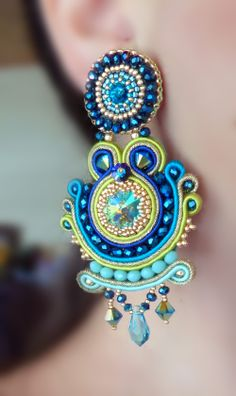 EARRINGS: bead embroidery and soutache --- design by Serena Di Mercione