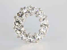 Wedding Crystal Brooch sterling silver wreath circle by RMSjewels #vintage #brooch #teamlove