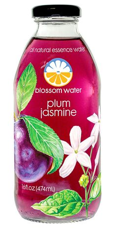 Blossom Water (Plum Jasmine) — Pure water infused with real fruit & flower essences, lightly sweetened with only 45 calories per bottle. Aromatic and uniquely flavorful – sophisticated refreshment! Fun Drinks, Beverages, Low Calorie Drinks, Raw Food Diet, Healthy Food, Smoothie Drinks, Smoothie Recipes, Edible Flowers, Bottle Design