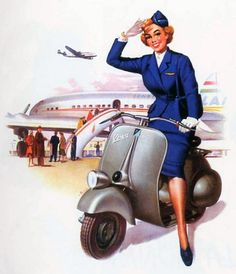 Vespa calendar illustration from the 1950's
