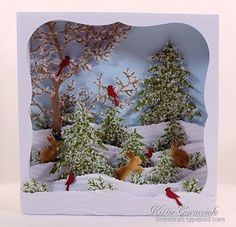 Simple scene made up or layered snow and trees scene.. Candy Box Winter Scene Diorama