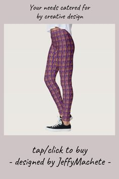 Shop Dark Marigold Bar Stripe Leggings for Women created by JeffyMachete. Purple Leggings, Cute Leggings, Patterned Leggings, Purple Pattern, Marigold, Leggings Fashion, Dressmaking, Things That Bounce, Pajama Pants