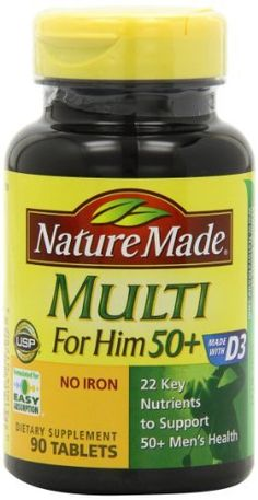Nature Made Multi for Him 50+ Multiple Vitamin and Mineral Supplement Tablets, 90-Count //Price: $6.59 & FREE Shipping //     #hashtag4