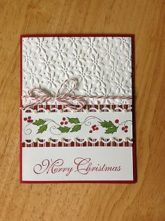 Handmade Christmas card kit - red&green garland-md w/ mostly stampin up product Homemade Christmas Cards, Christmas Cards To Make, Xmas Cards, Christmas Greetings, Homemade Cards, Handmade Christmas, Holiday Cards, Merry Christmas, Christmas Border