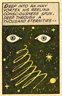 Deep into an inky vortex his reeling consciousness spun, deep through a thousand eternities— Old Comics, Vintage Comics, Samael Angel, Comic Wallpaper, Comic Books Art, Comic Art, Vaporwave, Vintage Pop Art, Vintage Books