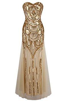 Women 1920s Vintage Art Deco Gold Sequin Maxi Gown Dress