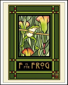 Frog Mission Style Giclee Reproduction Print - Sarah Angst Art - Original, Bozeman, Montana