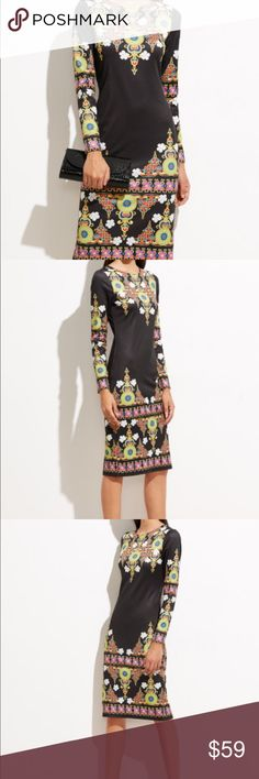 Ornate print sheath dress with slit Ornate print sheath dress with back slip. 95% polyester 5% spandex. Fabric has some stretch. Long sleeve. Sheath dress. Body conscious silhouette. New without tags. Never worn. Ships within 7 business days. 112 Fox&Lace Dresses