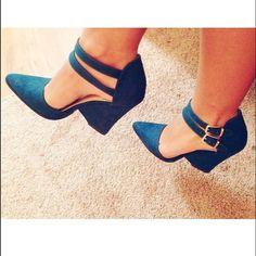 Dark Teal suede heels Dark teal shoe, double ankle strap, cut out heel. Never worn. 4in Forever 21 Shoes Heels