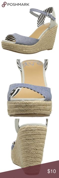"DV8 Women's Kimara Wedge Sandal Barely worn - one time on carpet only. Fabric Imported Synthetic sole Heel measures approximately 4 inches"" Style: Kimara Heel Height: 4"" Width: M Shoes Espadrilles"