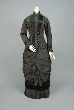 STRIPED SILK DAY DRESS, 1875. - Price Estimate: $200 - $300