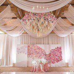 pink flower draping reception event wedding decor