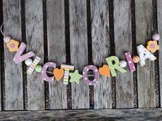 """""""VICTORIA"""" WOODEN WALL LETTERS DOOR NAME BABY SHOWER DECORATION SHABBY CHIC…"""