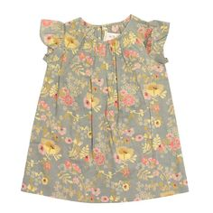 Bonpoint Grey Floral Carolina: Bonpoint Grey Floral Carolina Dress features a pricess style v neckline, slightly gathered, in a gorgeous grey and yell