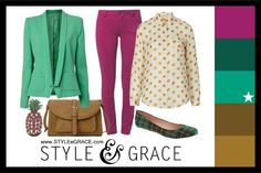 Polyvore fashion set with a color palette inspired by the Pantone color, Emerald.
