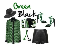 """""""Green & Black"""" by obsessedaboutstyle ❤ liked on Polyvore featuring Emilio Pucci, Emanuel Ungaro, Pierre Hardy, Ally Fashion and Maison Michel"""