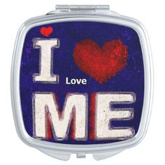 Modern funny typography compact mirror - #customizable create your own personalize diy