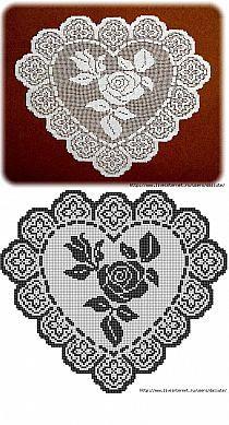 Filet crochet rose chart...