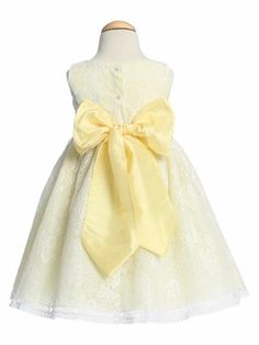 Yellow Flower Girl Dresses - All Over Laced Dress