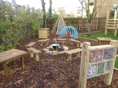 forest school outdoor classroom the hideout house company Outdoor Learning Spaces, Kids Outdoor Play, Outdoor Play Areas, Childrens Play Area Garden, Natural Playground, Backyard Playground, Playground Ideas, Outdoor School, Outdoor Classroom