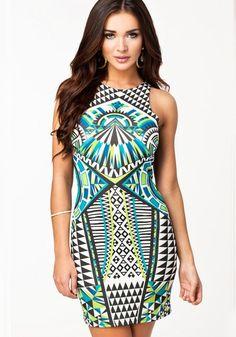 Multicolor Colorful Print Sleeveless Slim Dress