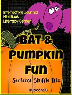 BATS & PUMPKIN FUN - Interactive journal, mini book, and literacy center.  $