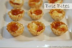 """Brie Bites- Favorite holiday appetizer- from The Creativity Exchange*****""""Belletoile"""" brand triple cream Brie from Belford Foodtown***** Holiday Appetizers, Yummy Appetizers, Appetizer Recipes, Holiday Recipes, Snack Recipes, Party Appetizers, Appetizer Ideas, Party Recipes, Holiday Parties"""