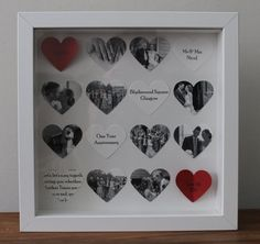 photo collage Hearts can be pers Personalised anniversary gift. photo collage Hearts can be personalised with text, photos or images Cadeau Grand Parents, Collage Foto, 3d Collage, Heart Collage, Decoration Photo, Personalized Anniversary Gifts, Personalised Gifts, 3d Photo, Year Anniversary Gifts