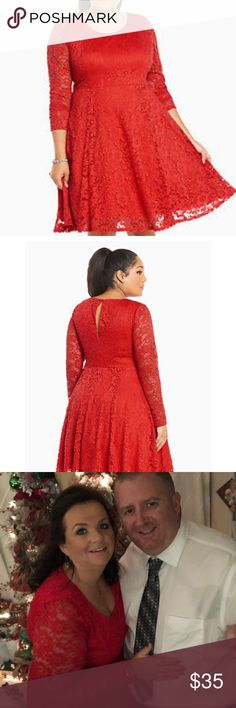 Torrid Red Lace Dress 10 Torrid Red Lace dress!!  Size 10  Worn once for Christmas!!!  Super comfy and cute!!!  Pic to show how cute it is on!! torrid Dresses Midi