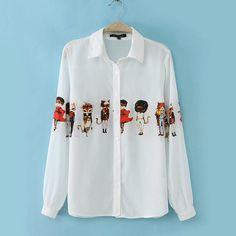 Adorable Print Polo Collar Long Sleeve White Chiffon Blouse 5a49616d51a1a