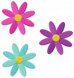 3 Flowers Embroidery Design - Instant Download