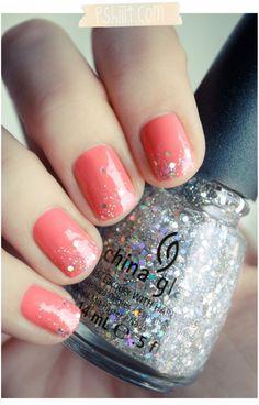 40 glittering nail art ideas for summer 2016 - Nail Polish Love Nails, How To Do Nails, Fun Nails, Gorgeous Nails, China Glaze Nail Polish, Glitter Nail Polish, Nail Nail, Nail Polishes, Sparkle Nails