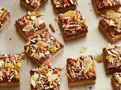 Look at this recipe - Peanut Butter Cupboard Cookie Bars - from Food Network Kitchens and other tasty dishes on Food Network. Tray Bake Recipes, Baking Recipes, Snack Recipes, Dessert Recipes, Desserts, Dessert Ideas, Reese's Recipes, Dessert Bars, Recipies