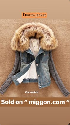 Denim Jacket With Fur, Fur Jacket, Fur Coat, Leather Jacket, Dress Outfits, Cool Outfits, Fashion Outfits, Women's Fashion, Coats For Women