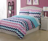 Full Microfiber Kids Chevron Bedding Comforter Set