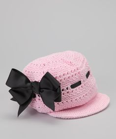 Isn't this delightful?   Pink & Black Bow Newsboy Hat | Daily deals for moms, babies and kids