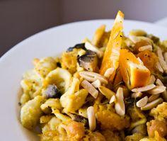 Harvest Pasta: Rustic citrus + squash + mushroom entree bowl. #vegan