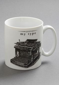 My Favorite Dings Mug. If the clicking and clacking of a classic typewriter is what keeps you churning out the chapters, youll cherish the chance to read your manuscript with this distinctive mug on your desk! #white #modcloth