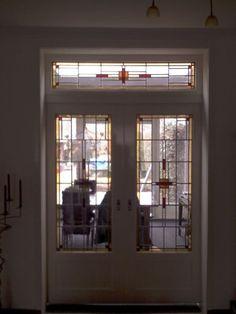 Glas in lood deuren en bovenlicht